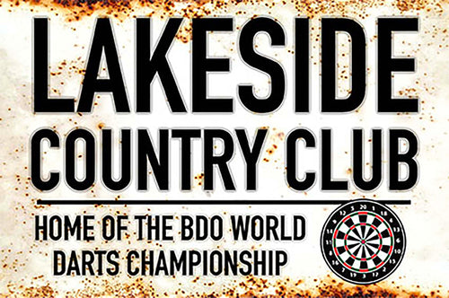 Metal Darts Sign - Lakeside World Darts Championship - Man Cave - Darts Room
