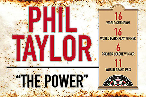 Metal Darts Sign - Phil 'The Power' Taylor - Man Cave - Darts Room