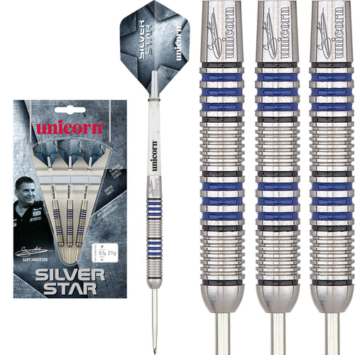 Unicorn Silver Star - Gary Anderson - The Flying Scotsman-  80% Tungsten Darts - 21g 23g 25g