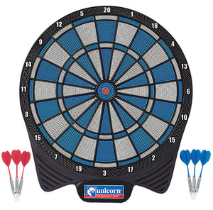 Unicorn Non Electronic Dartboard - Simplified Soft Tip Board - includes 6 darts - Blue