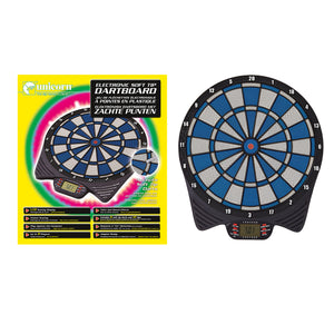 Unicorn Electronic Soft Tip LCD Dartboard - Includes 6 Darts - Play Computer Feature