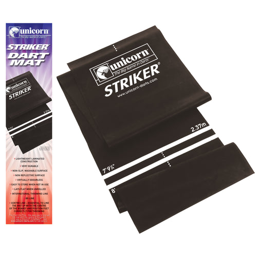 Unicorn Dart Mat - Lightweight - Striker EVA Darts Mat - Black