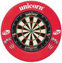 Unicorn Home Darts Centre - Striker EVA Surround & Striker Dartboard - inc 6 Darts - Full Setup - Red
