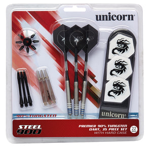 Unicorn Premier 90% Tungsten Dart Set - 35 Pieces - Dart Case - 22g 24g