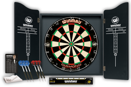 Winmau Professional Dart Set includes Diamond Plus Dartboard - Black High Quality Cabinet - 2 Sets of Darts - Official Oche Line