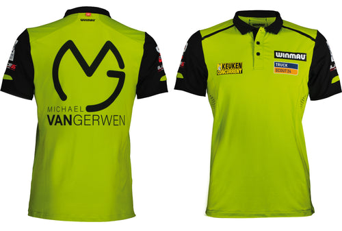 Winmau Michael van Gerwen Dart Shirt - Breathable - Small to 4XL - MvG - Green & Black