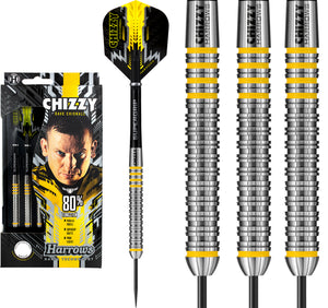 Harrows Dave Chisnall Darts - Steel Tip - Made in England - Chizzy 80% - 21g to 26g