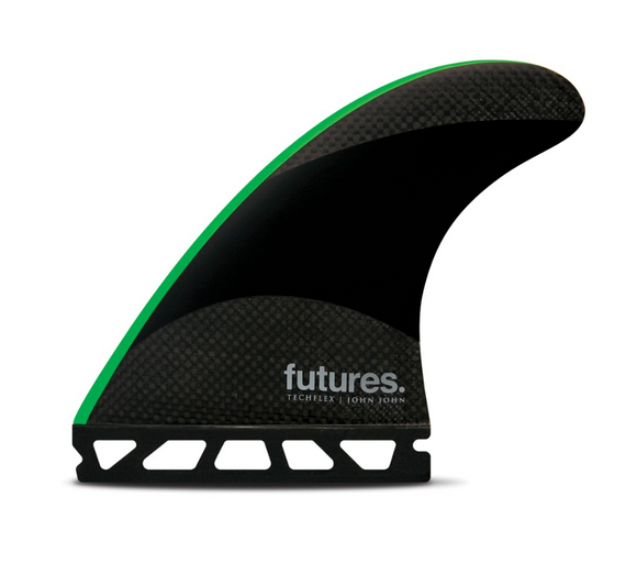 Futures John John Florence Techflex Tri Fin Set Black / Neon Green - Medium-Futures John John Florence Techflex Tri Fin Set Black / Neon Green - Medium-Green Overhead