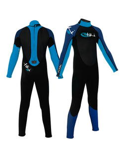 Tiki Junior Tech 4/3mm GBS Back Zip Steamer Wetsuit - Blue / Black