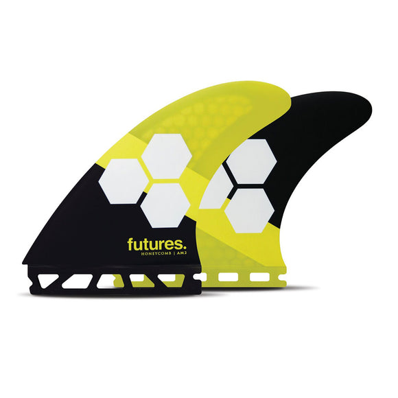 Futures FAM2 Honeycomb Tri Fin Set Large - Yellow-Futures FAM2 Honeycomb Tri Fin Set Large - Yellow-Green Overhead