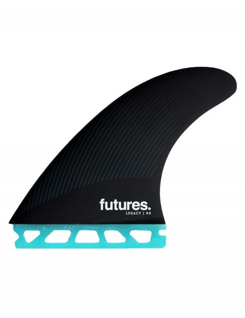 Futures R8 Legacy Series Honeycomb Tri Fin Set Large - Teal / Black-Futures R8 Legacy Series Honeycomb Tri Fin Set Large - Teal / Black-Green Overhead