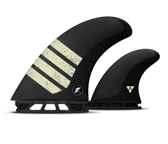 Futures T1 Alpha Twin + Trail Fin Set Large - Black-Futures T1 Alpha Twin + Trail Fin Set Large - Black-Green Overhead