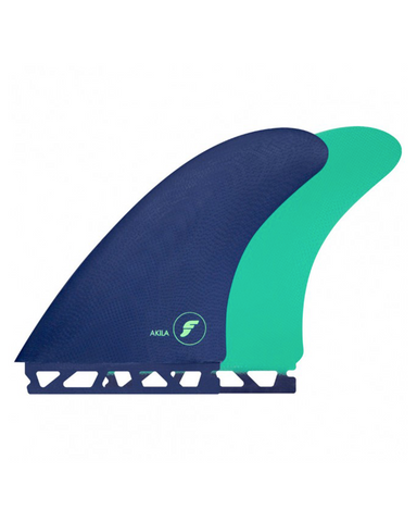 Futures Akila Aipa Fibreglass Twin Fin Set Large - Blue / Green-Futures Akila Aipa Fibreglass Twin Fin Set Large - Blue / Green-Green Overhead