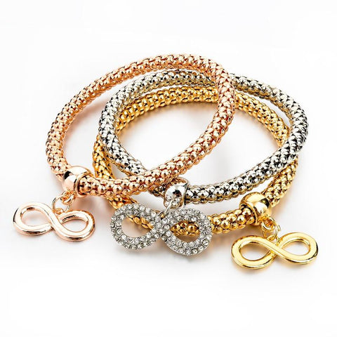 3Pcs Gold Filled Charm Elastic Bracelets