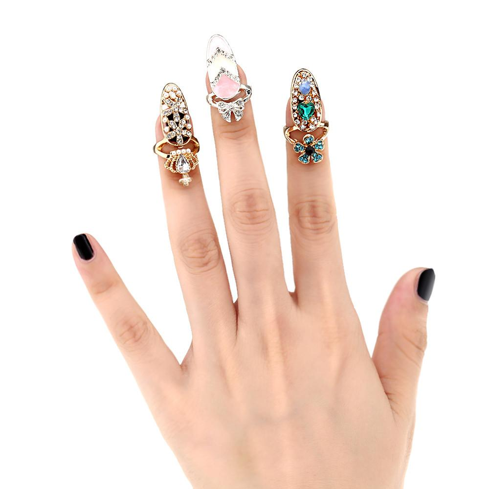 Gold Plated Nail Art Rings – Top Tier Shop