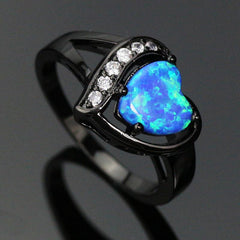 Heart Shaped Blue/White Opal Ring - TopTier Shop Unique Fun Trending Gifts Hot Items Shopping Accessories