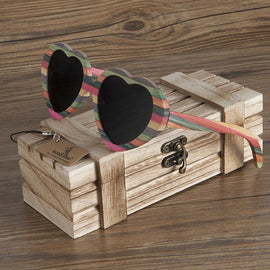 Wooden Heart Shaped Sunglasses - TopTier Shop Unique Fun Trending Gifts Hot Items Shopping Sunglasses