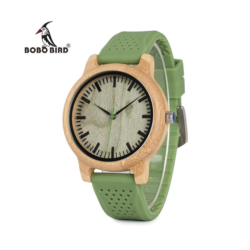Bamboo Wood Watch w/Green Silicone Straps - TopTier Shop Unique Fun Trending Gifts Hot Items Shopping Watch