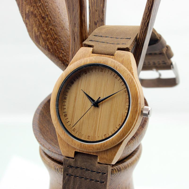 Bamboo Watch w/Leather Strap & Gift Box - TopTier Shop Unique Fun Trending Gifts Hot Items Shopping Watch