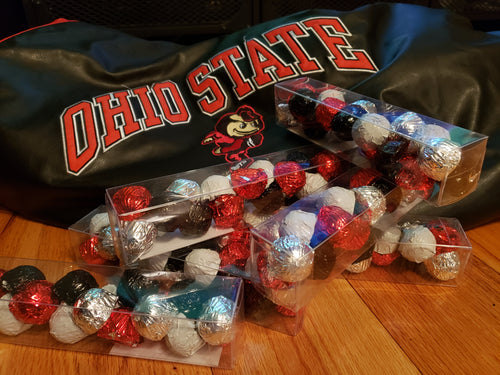 Clear Long Box of 18 Cookie Dough Chocolates (TM) with Ohio State Buckeyes colors