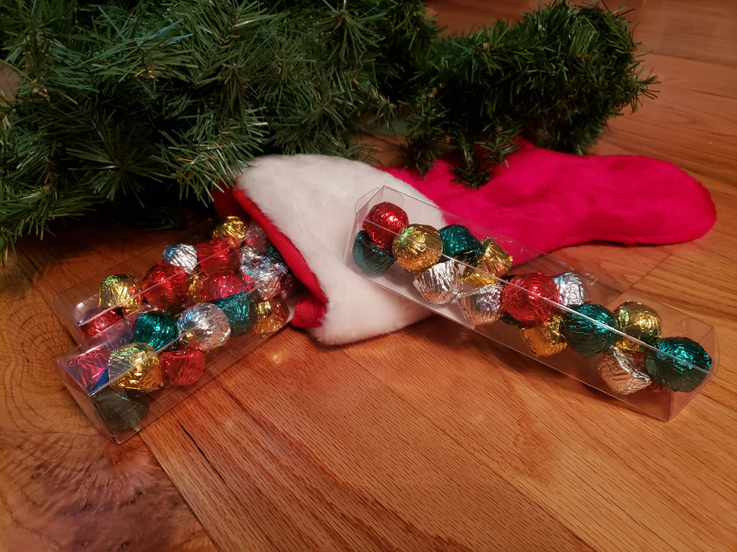 Clear Long Box of 18 Cookie Dough Chocolates (TM) with Holiday colors
