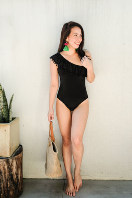 ISLA (Black Pom-poms) Swimsuit
