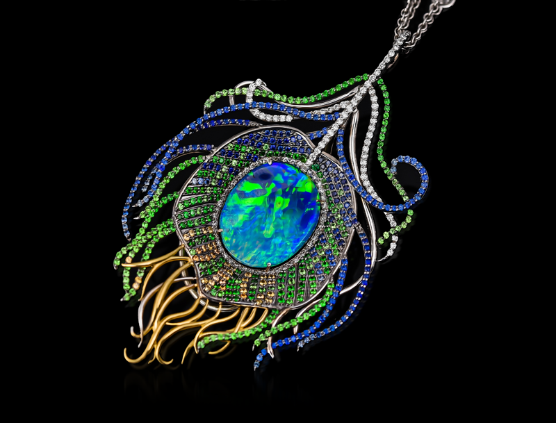 opal peacock necklace pendant
