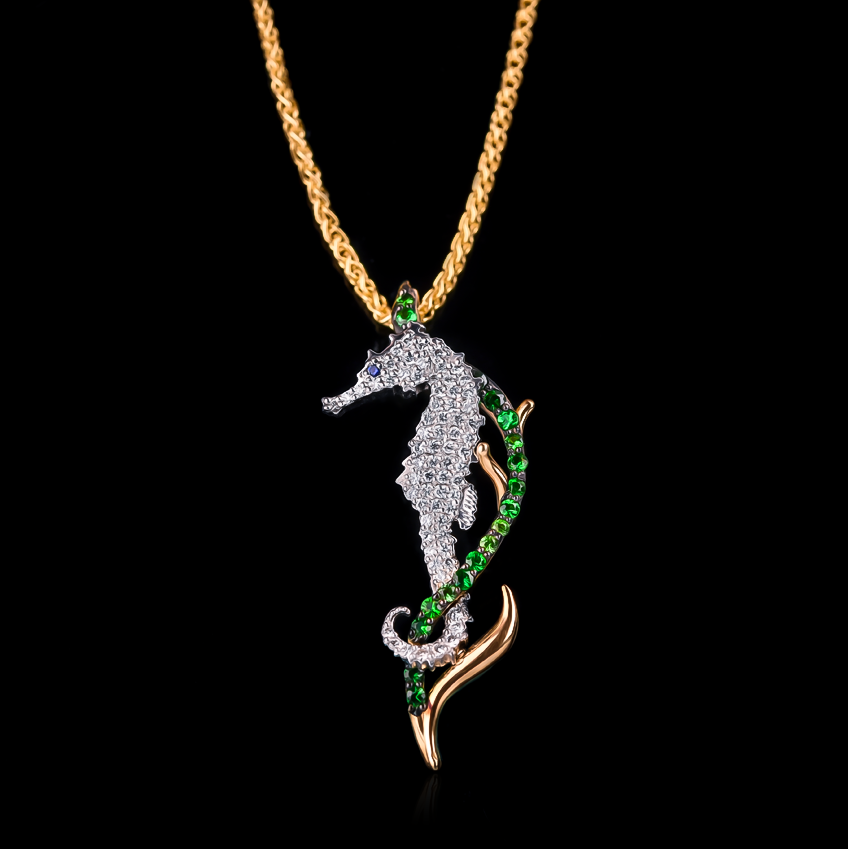 Diamond tsavorite seahorse pendant cast in 18k gold diamond tsavorite seahorse pendant in 18k yellow gold span classsubtitlerpsee life collectionspan aloadofball Gallery
