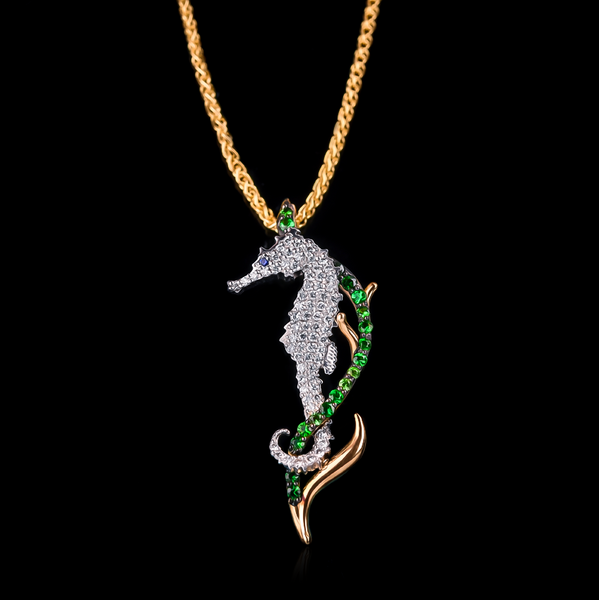"<span class=""subtitlerp"">See Life Collection</span><br /><br />Diamond & Tsavorite Seahorse Pendant in 18k Yellow Gold"