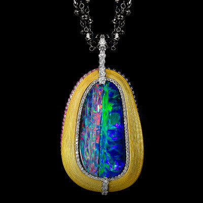 "<span class=""subtitlerp"">Treasured Opals Collection</span><br /><br />2016 AGTA Award Winning 23.94ct Boulder Opal, Diamond & Sapphire Pendant"