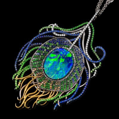 "<span class=""subtitlerp"">Treasured Opals Collection</span><br /><br />Peacock Feather Inspired Pendant Featuring a 7.78ct Boulder Opal"