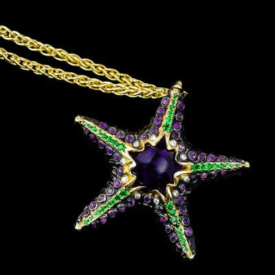 "<span class=""subtitlerp"">See Life Collection</span><br /><br />Starfish Pendant with .10ctw White Diamonds, Amethyst & Tsavorite Gemstones"