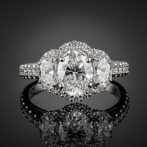 "<span class=""subtitlerp"">New Vintage Collection</span><br /><br />Platinum 2.44ctw Oval Diamond 3 Stone Engagement Ring"