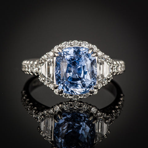 "<span class=""subtitlerp"">New Vintage Collection</span><br /><br />Platinum 4.40 ct Light Blue Cushion Sapphire Ring"