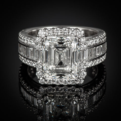"<span class=""subtitlerp"">Passion Collection</span><br /><br />Platinum 6.30ctw Emerald Cut Diamond Engagement Ring"