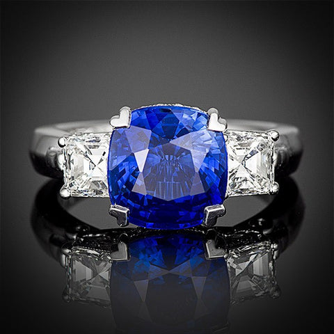"<span class=""subtitlerp"">Age of Romance Collection</span><br /><br />Platinum Engagement Ring Setting with 5.07 ct Cushion Sapphire"