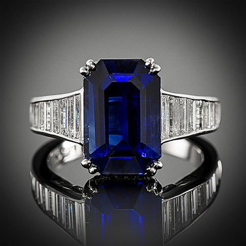 "<span class=""subtitlerp"">Old Fashioned Romance  Collection</span><br /><br />Platinum Sapphire & Diamond Ring"