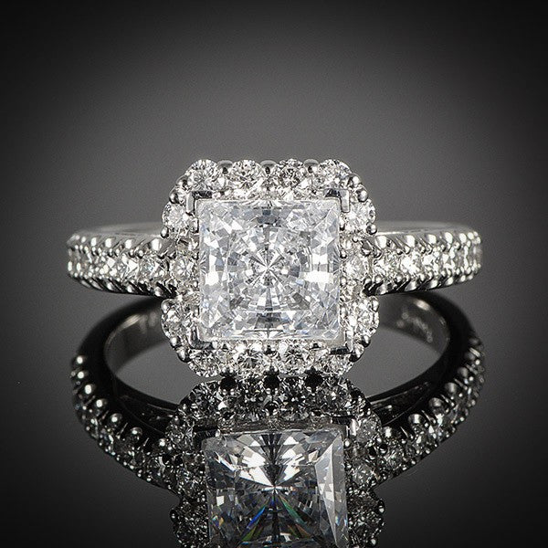 "<span class=""subtitlerp"">New Vintage Collection</span><br /><br />Platinum .76ctw Halo Diamond Engagement Ring Setting"