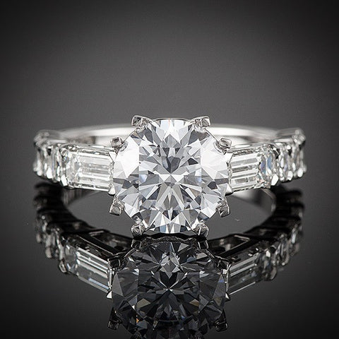 "<span class=""subtitlerp"">Old Fashioned Romance  Collection</span><br /><br />White Gold Old Fashion Romance Emerald & Asscher Diamond Engagement Setting"