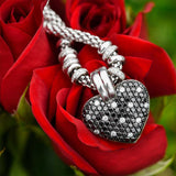 "<span class=""subtitlerp"">Message Locket Collection</span><br /><br />Black & White Diamond Heart Shaped Love Locket"