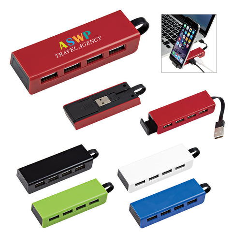 4 Port Traveler USB Hub with Phone Stand