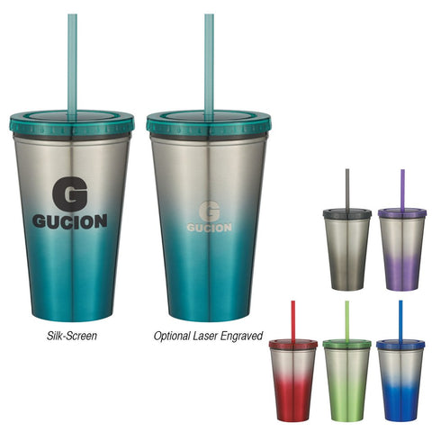 16 Oz. Stainless Steel Double Wall Chroma Tumbler with Straw