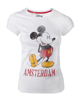Official Disney Mickey Mouse White Vintage Look Amsterdam Women's T-shirt
