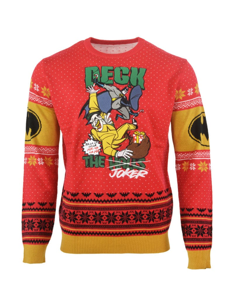 Christmas Sweaters Ugly.Official Batman Deck The Halls Christmas Jumper Ugly Sweater