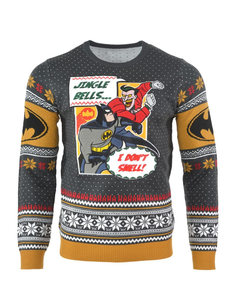 Batman Christmas Sweater.Official Batman I Don T Smell Christmas Jumper Ugly Sweater