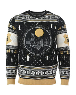 Official Harry Potter Hogwarts Castle Candles LED Christmas Jumper / Ugly Sweater