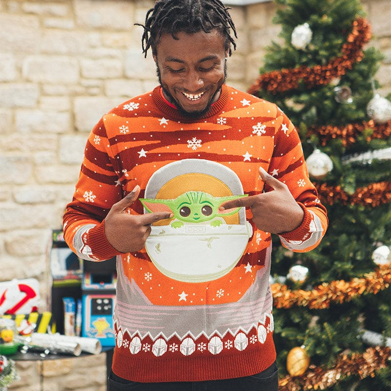Star Wars The Mandalorian The Child Christmas Boys Knitted Jumper Baby Yoda Xmas Jumper Ugly Sweater Fair Isle Official Merchandise