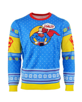 Official Superman 'Bad Guys Get Coal' Christmas Jumper / Ugly Sweater