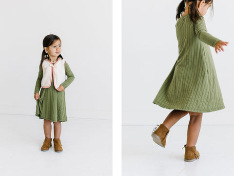 Bumbelou Olive toddler swing dress and vest