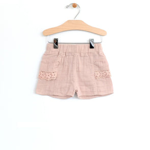 Woven Lace Pocket Short- Soft Rose